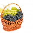 Bunches of grapes  in basket. - Stock Photo
