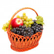 Постер, плакат: Bunches of grapes and apples in basket