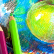Stock Photo: Child drawing by colored pencils
