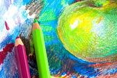 Child drawing by colored pencils — Stockfoto