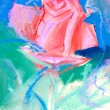 Stock Photo: Drawing of red rose by pastel