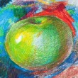 Stock Photo: Child drawing by colored pencils 2