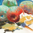 Stock Photo: Unfinished drawing of apples and paintbr