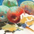 Unfinished drawing of apples and paintbr — Stock Photo #1218354