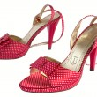 Red sandals in pea 2 — Stock Photo