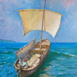 Drawing of boat is under sail, painting - Stock Photo