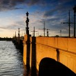 Old bridge across the river Neva - Stock Photo