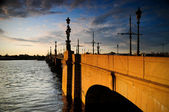 Old bridge across the river Neva — Stock Photo