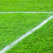 Line on a green football field - Stock Photo