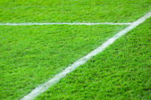 Line on a green football field — Stock Photo