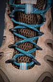 Close up of hiking boots shoelace — Stock Photo