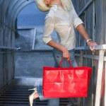赤いバッグ 2 とブロンド — ストック写真