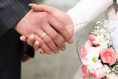 Hand of the bride and groom — Stock Photo