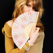 Girl with a fan — Stock Photo