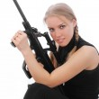 Girl with a weapon 1 — Stock Photo