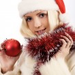 Young woman with christmas ball — Stock Photo
