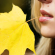 Girl with maple leaf in her mouth — Stock Photo