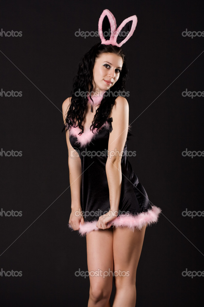 Sexy playboy girl isolated on black  Stok fotoraf #1495279