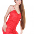 Beautiful young woman in red dress — Stock Photo