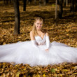 Bride sitting in a park - Stock Photo