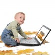 Nine-monthly boy plays with the laptop — Stock Photo