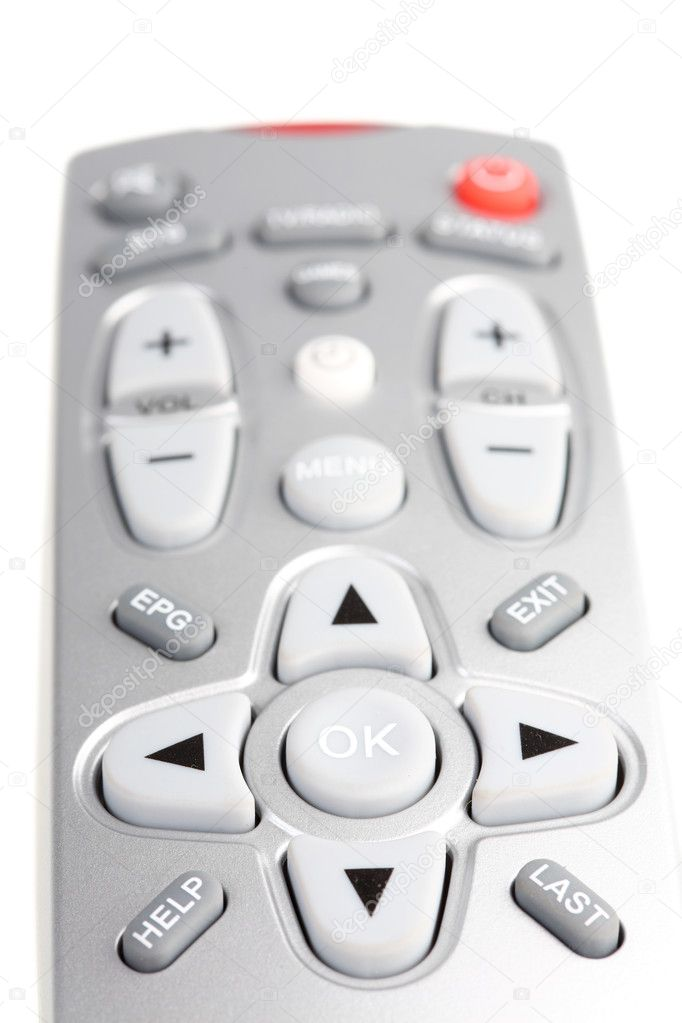 Television remote control. It is isolated. White background.  Stock Photo #1102002