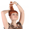 Girl with the long red hair — Stock Photo