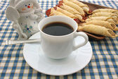 Cooky, napkin, cup, coffee, snowman — Stock Photo
