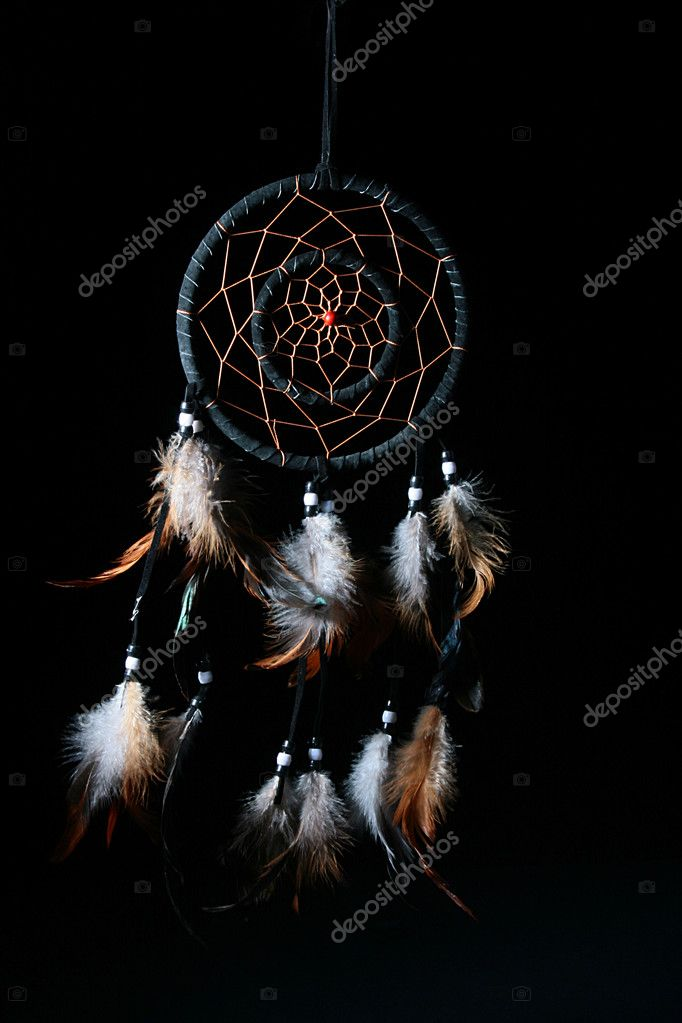 Dream catcheris on a black background, used as a talisman, protection against black forces, can be used in sorcery.  Stock Photo #1121377