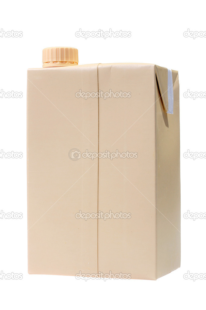 Cardboard package with a cover for juice, milk or other liquid products. — Stock Photo #1691132