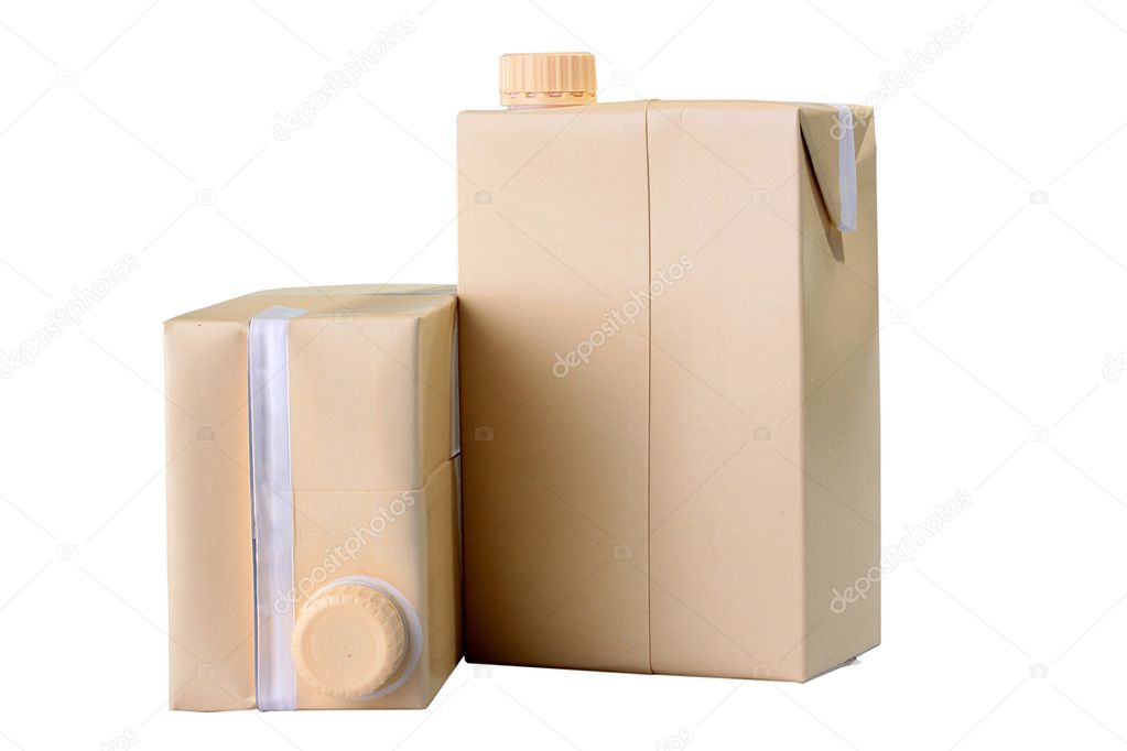 Two cardboard containers for juice or milk with plastic covers. — Stock Photo #1770113