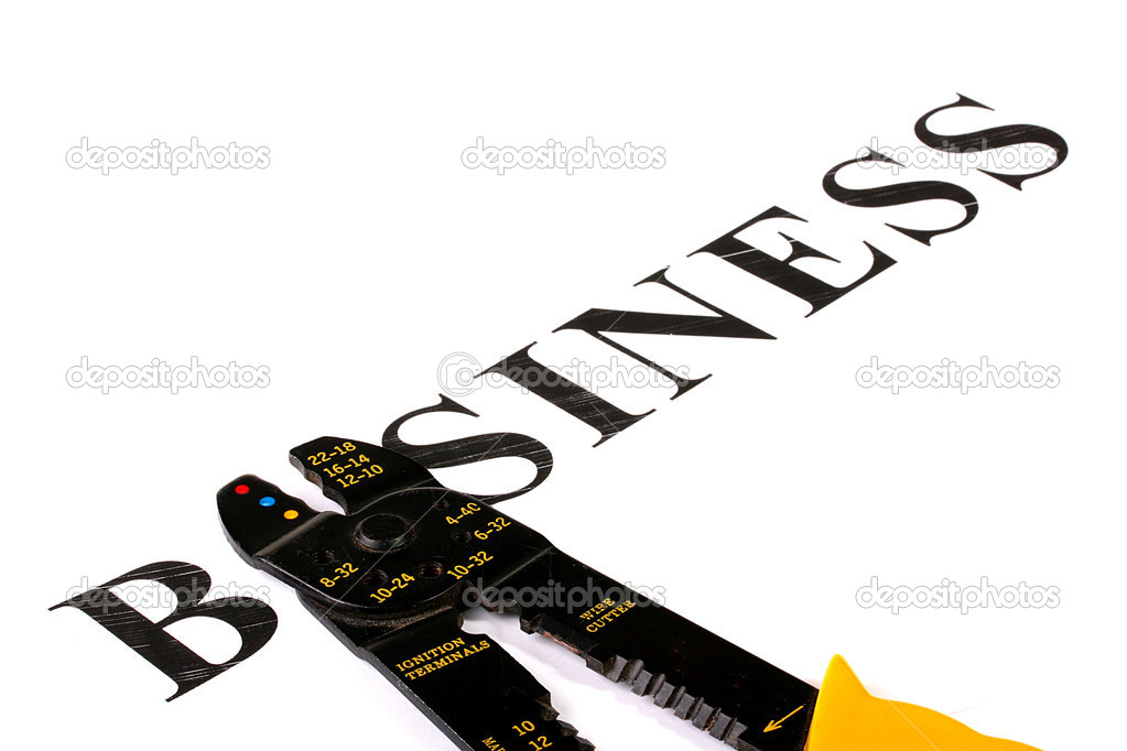 The word Business in which instead of the letter U lies an electric tool. — Stock Photo #1830864