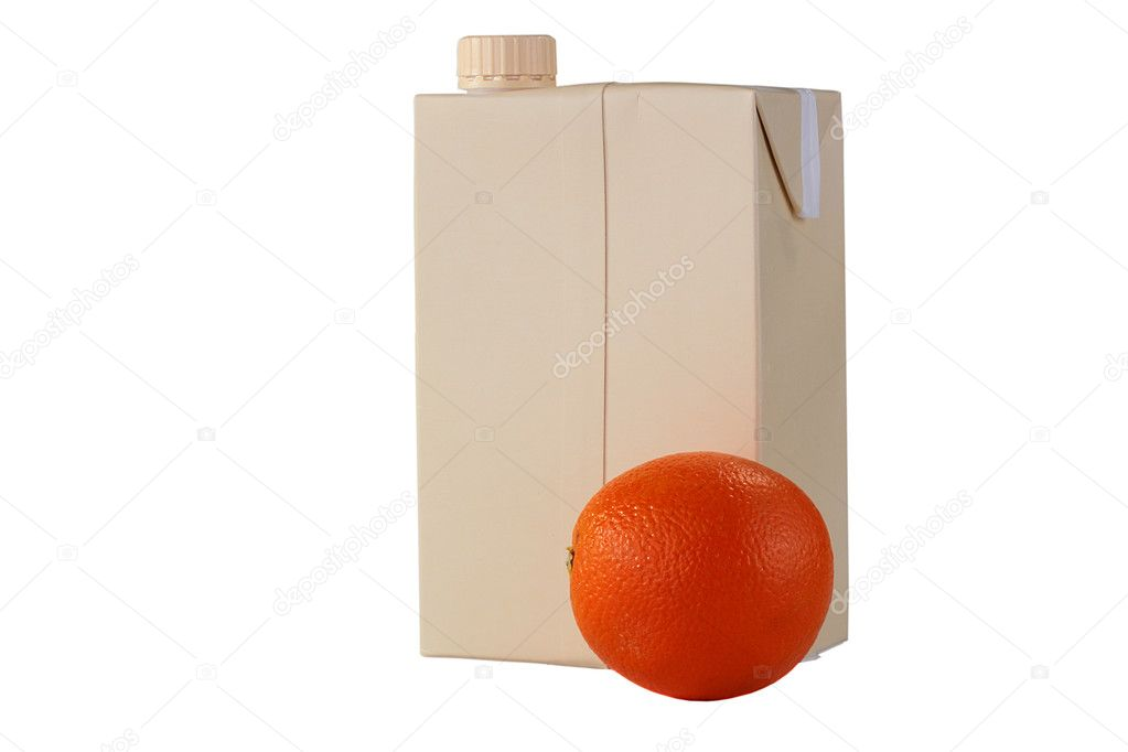 The container for orange juice from a cardboard with a plastic twisting cover and an orange in the foreground. — Stock Photo #1830894