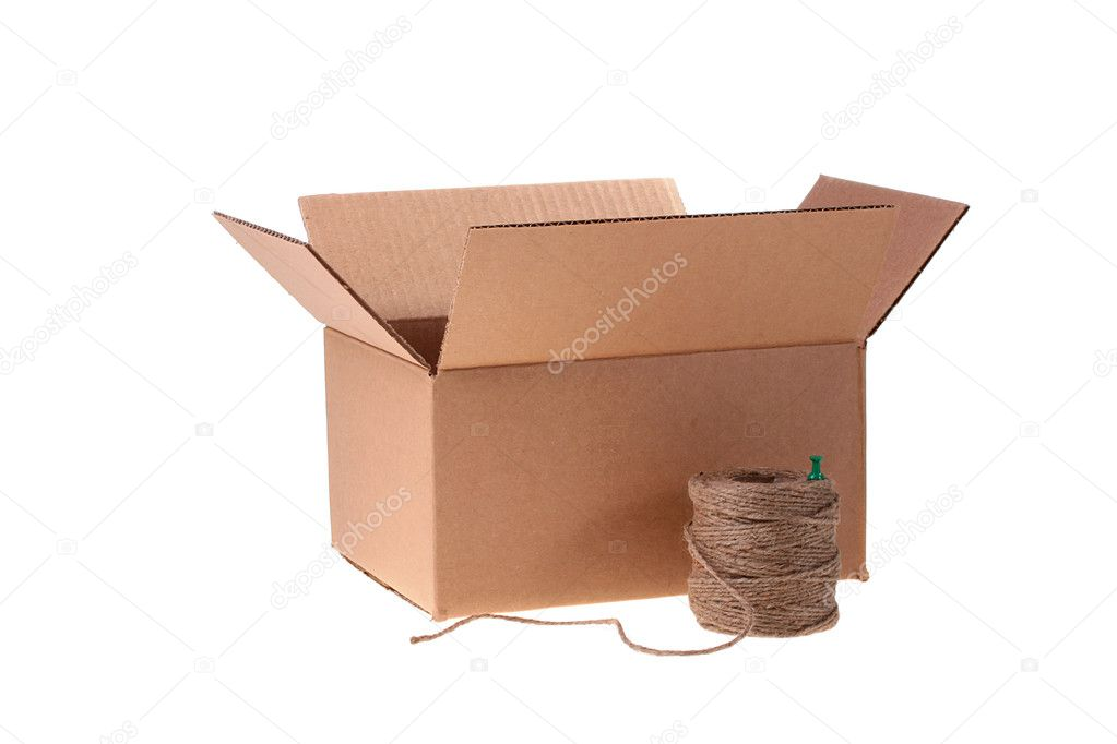 Cardboard box and cord for packing on a white background. — Stock Photo #1898060
