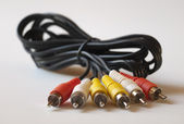 Black wire with multi-coloured tips. — Stock Photo