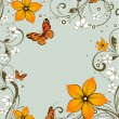 Floral abstract frame with butterflies. - Stock Vector