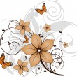 Floral abstract banner with butterflies. — Stock Vector #2365325