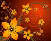 Abstraction florale avec des papillons. — Vecteur