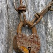 Stock Photo: Rusty chain with old padlock