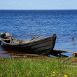 Stock Photo: Old fishing wooden motor boat near the l