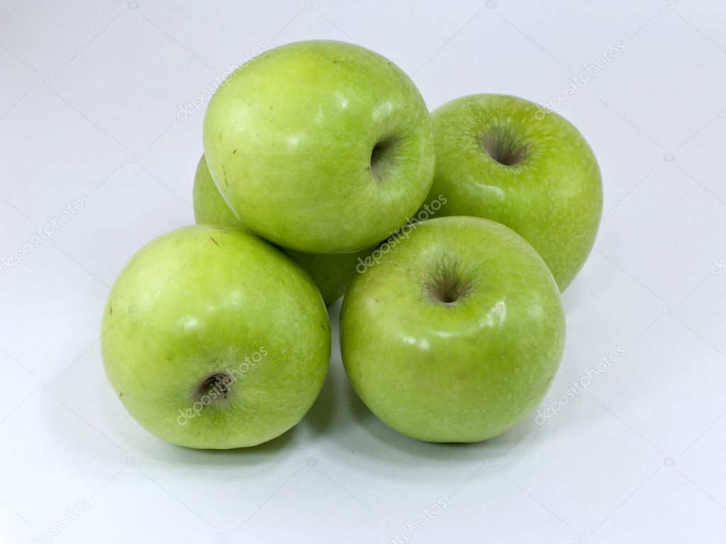 Five green apples isolated on white  Stock Photo #1259606