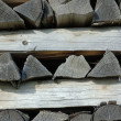Stack of old firewood — Stock Photo