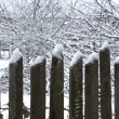 Old wooden fence under snow — Foto Stock