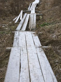 Destroyed wooden footway with hoarfrost — Stock Photo