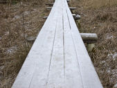 Wooden footway with hoarfrost — Stock Photo