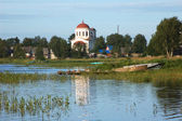 Riverbank of ancient town Kargopol — Stock Photo