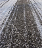 Asphalt road background in winter — Stock Photo