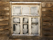 Window of abandoned country house — Stock Photo