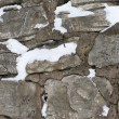 Gray stone wall background with snow - Stock Photo