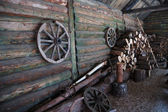 Courtyard of traditional russian farm — Stok fotoğraf